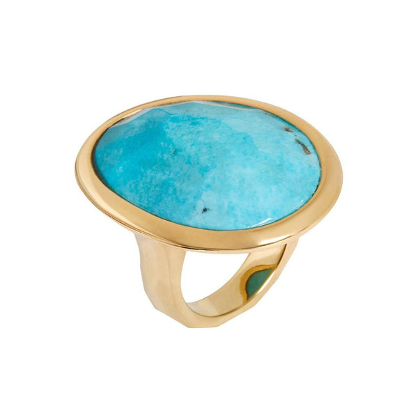 Hand Faceted Turquoise Gold Cocktail Ring