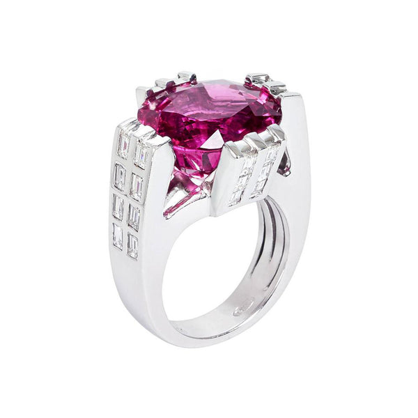Hot Pink Rubellite Tourmaline Skyscraper Ring