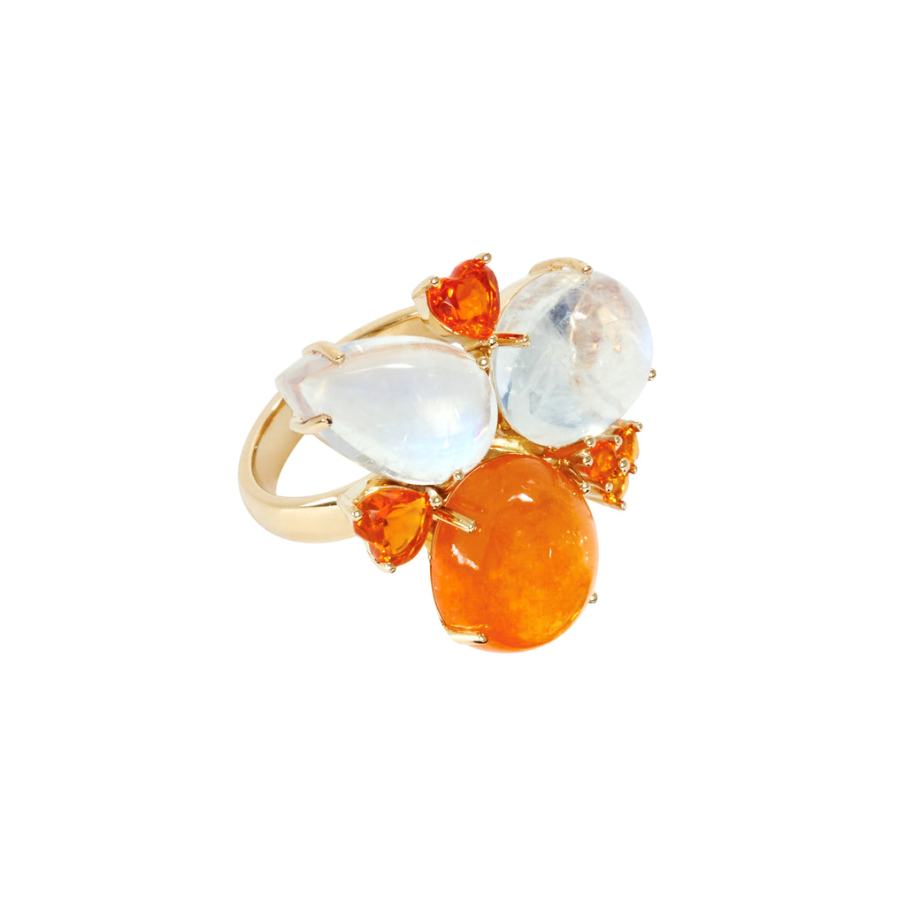 African Mandarin garnet and Blue moonstone ring
