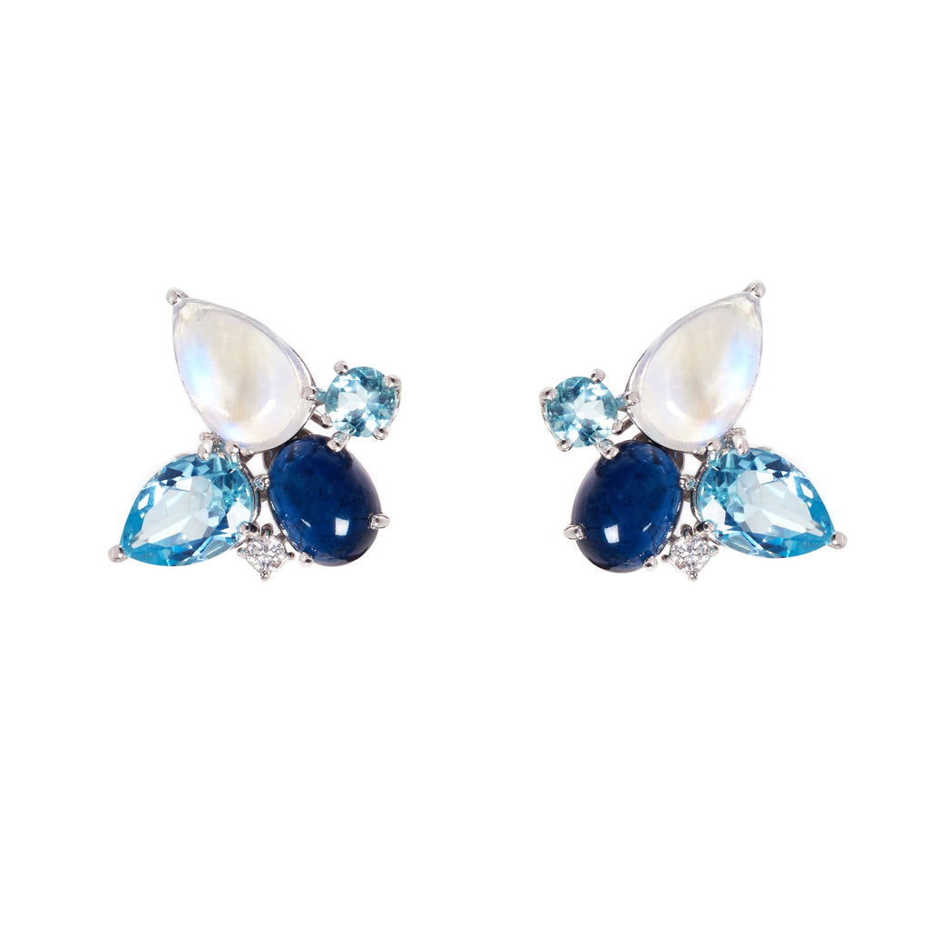 Mixology - Aquamarine and blue moonstone stud earrings