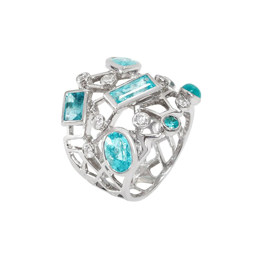 Paraiba Tourmaline Diamond Cobweb Ring