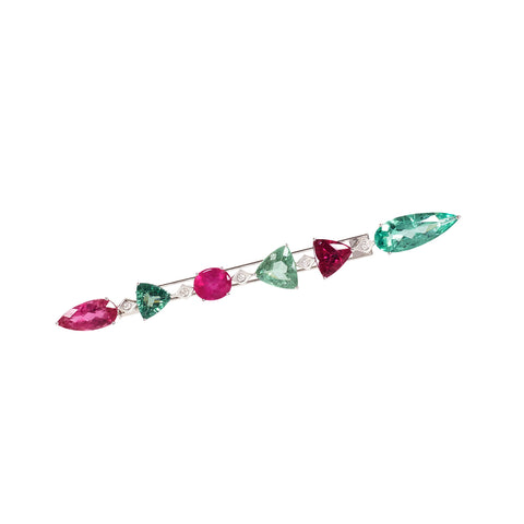Rubellite, Chrome Green Tourmaline and Diamond Javelin brooch