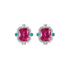 Striking Rubellite, Paraiba Tourmaline and Diamond Earrings