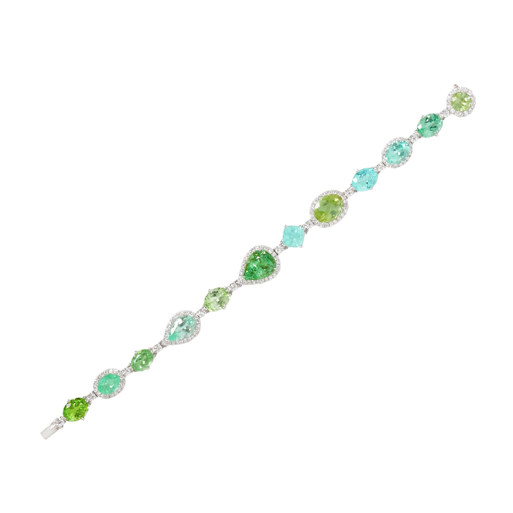 Hypnotic Glowing Blue and Green Paraiba tourmaline diamond bracelet