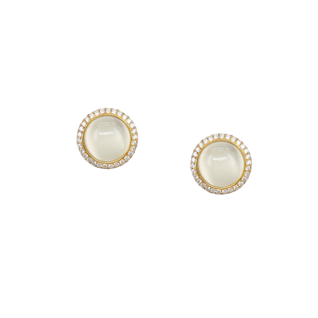 Cabochon Moonstone Diamond Earring Studs