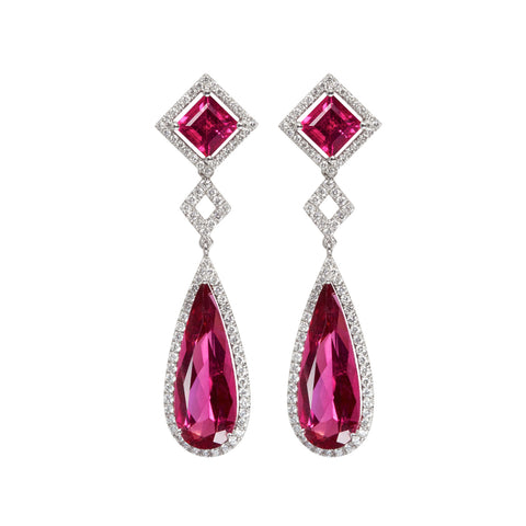 Mixology - Rubellite and diamond earrings
