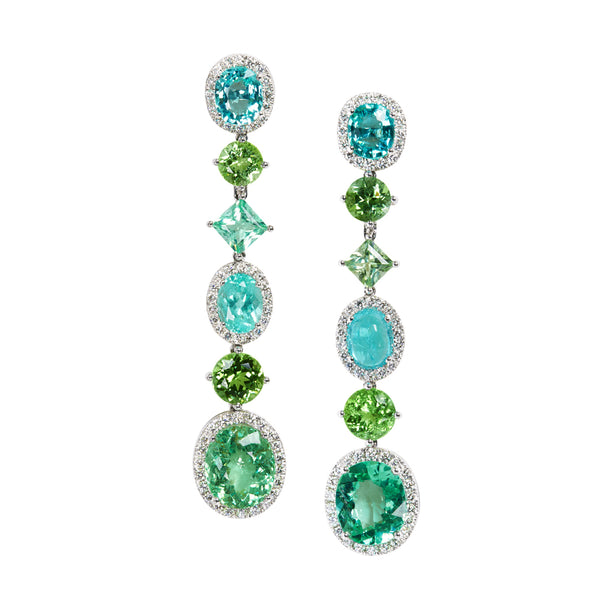 Paraiba tourmaline and diamond earrings