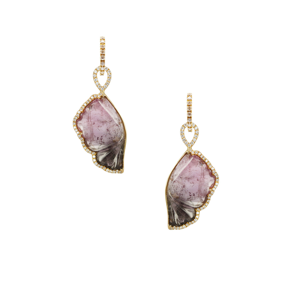 Burgundy and Carved Bi- colour tourmaline diamond drops