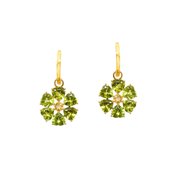 Peridot and Citrine Flower Drops
