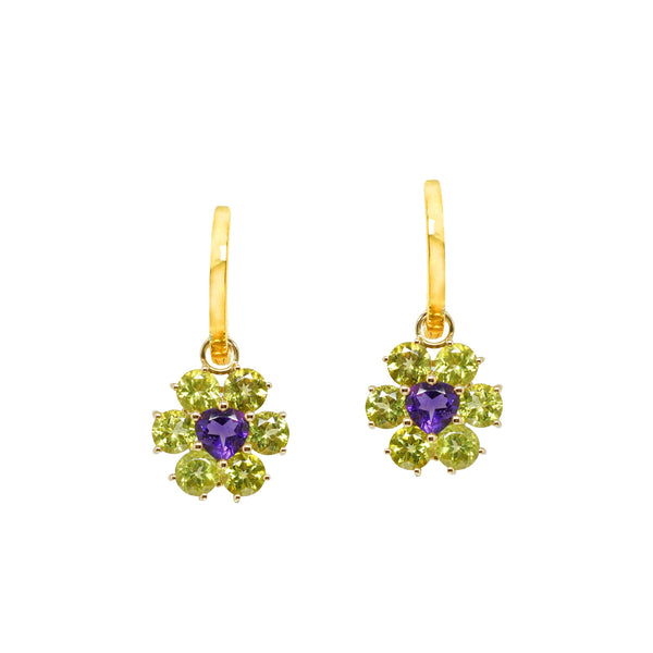Peridot and Amethyst Flower Drops