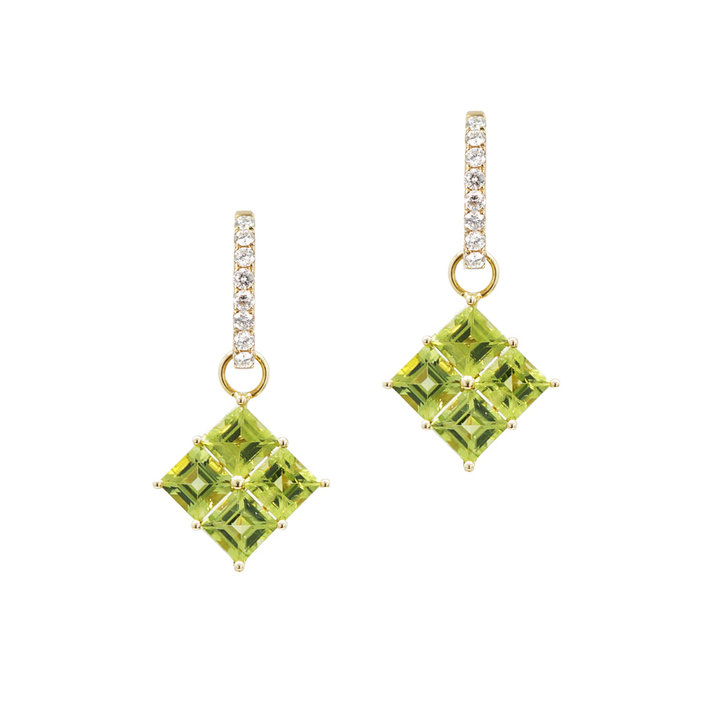 Princess cut Peridot Drops