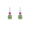 Green Tourmaline and Rubellite Drops