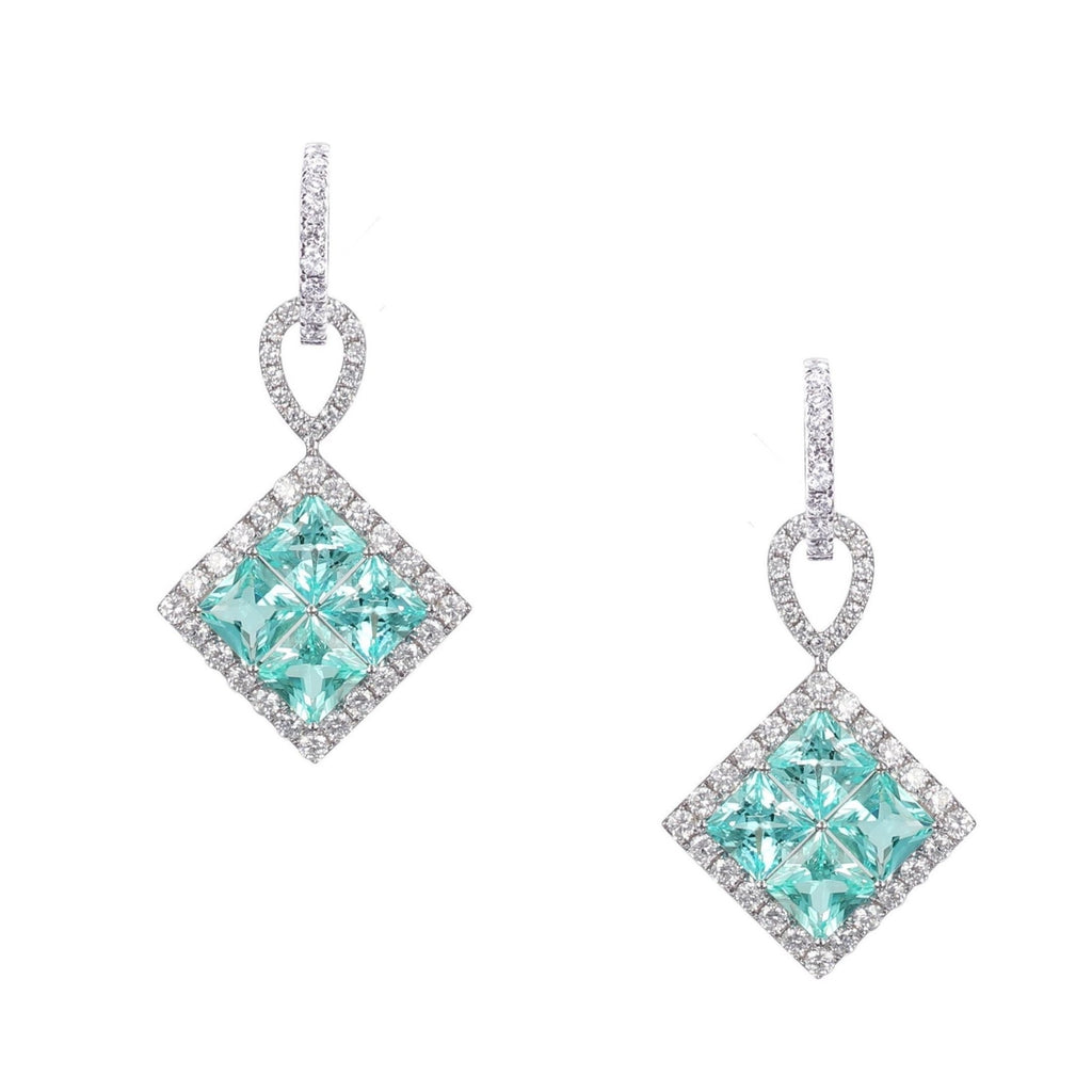 Princess cut Paraiba Tourmaline Diamond Drops