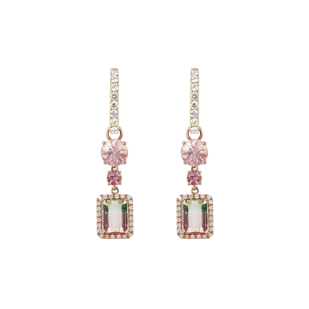 Watermelon and Pink Tourmaline Diamond Drops