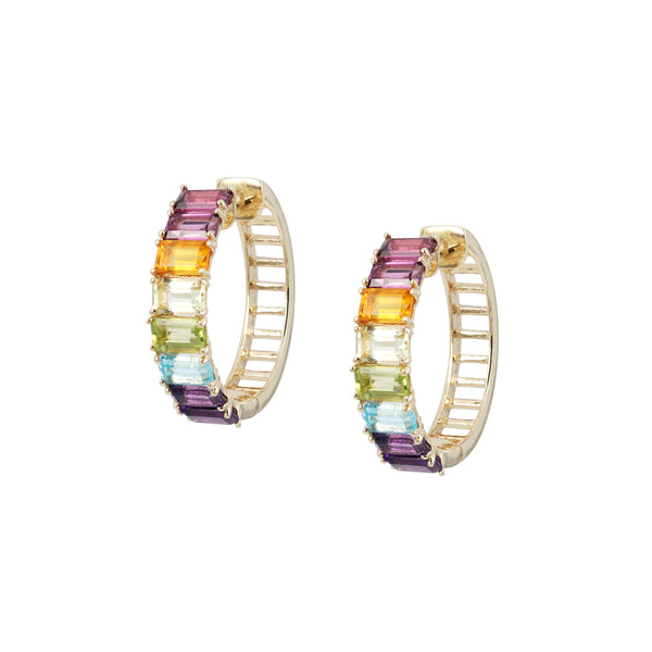 Rainbow Gem Earring Hoops