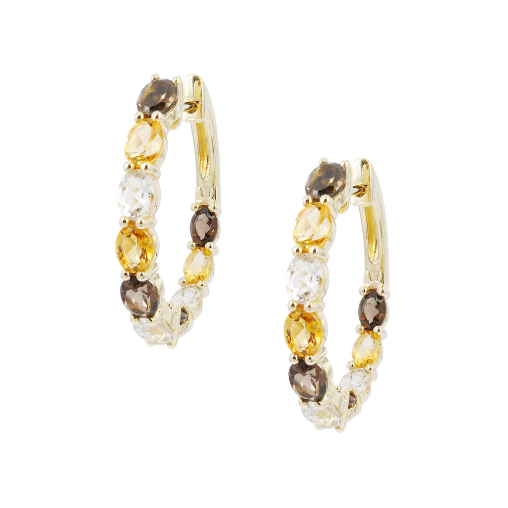 White Topaz Citrine and Smoky Quartz Earring Hoops