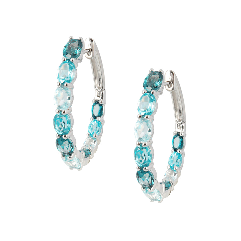 Blue Topaz Earring Hoops
