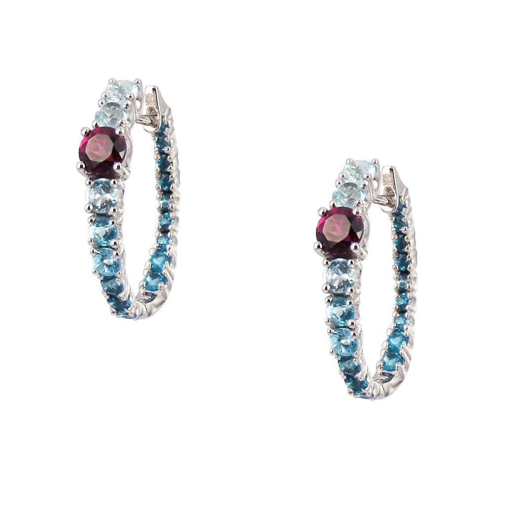 Blue Topaz and Rhodolite Garnet Earring Hoops