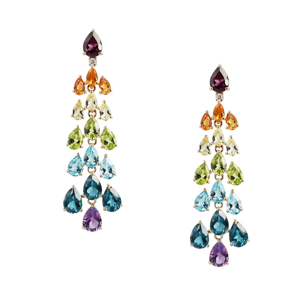 Rainbow Gem Chandelier Earrings