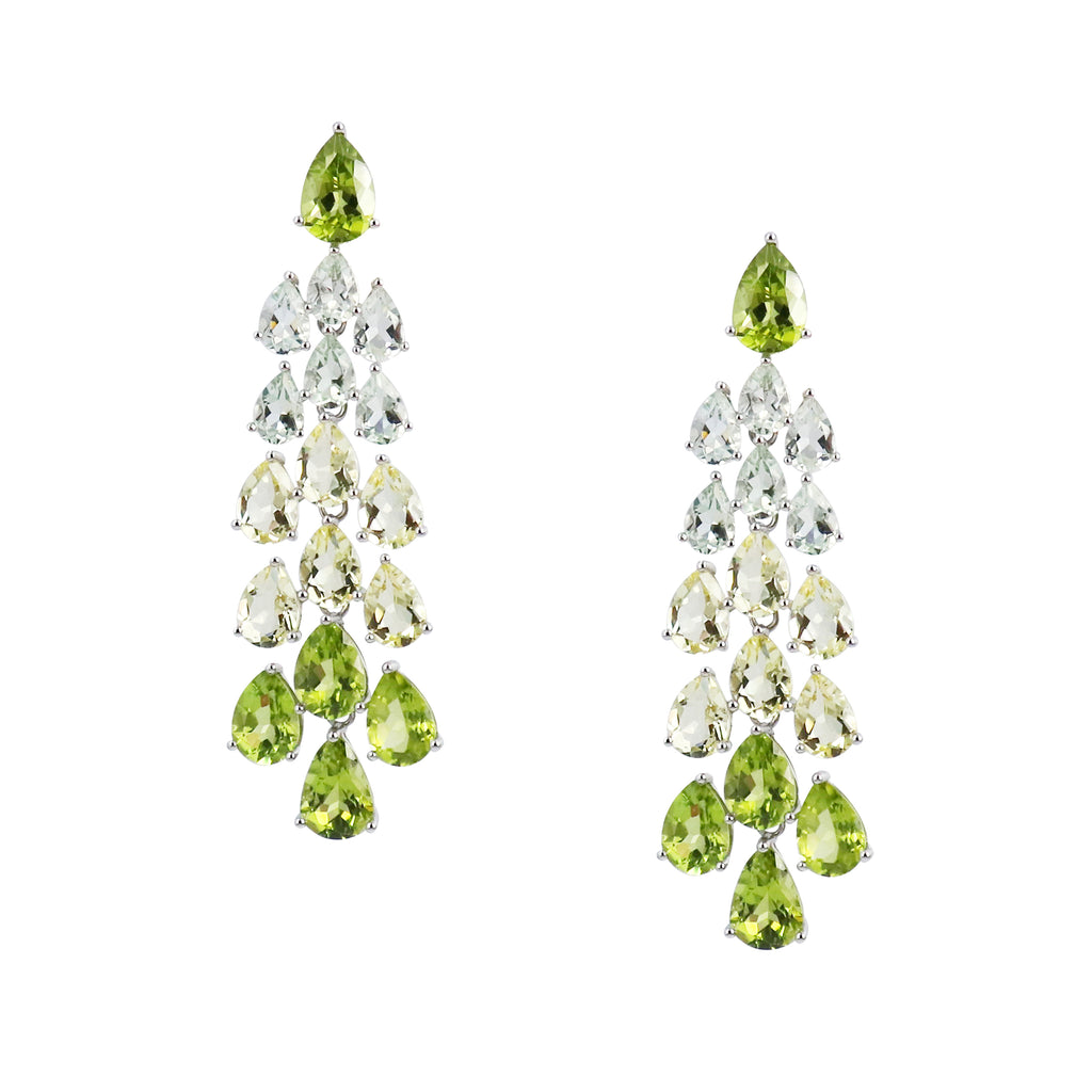 Peridot, Green Amethyst and Lemon Quartz Chandelier Earrings