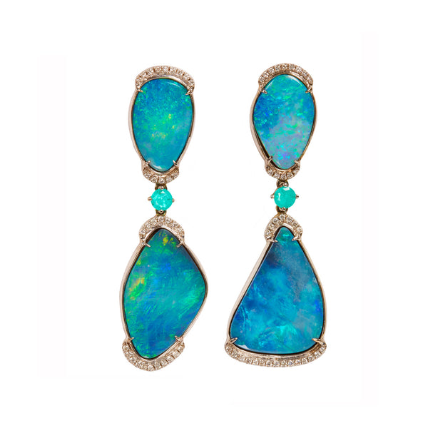 Floating Islands Collection - Opal Paraiba and Diamond Earrings