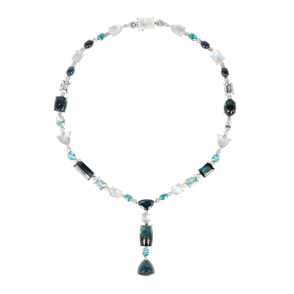 Indicolite Blue Tourmaline, Aquamarine and Moonstone Diamond Necklace, Detachable pendant