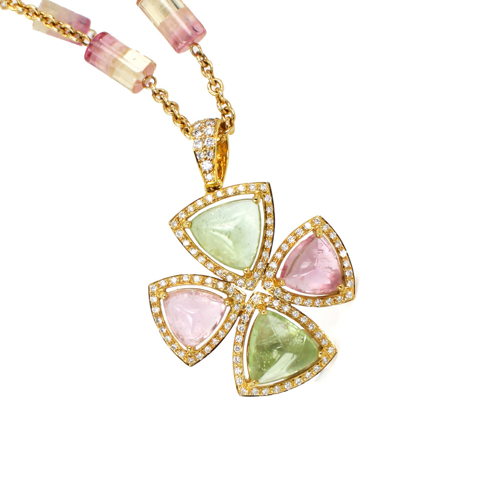 Sugarloaf Green and Pink Tourmaline Diamond Pendant