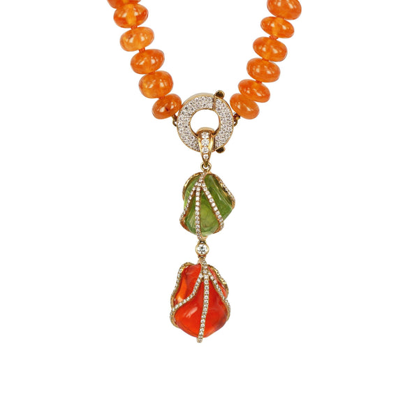 Peridot and Fire Opal Dim Sum diamond Pendant