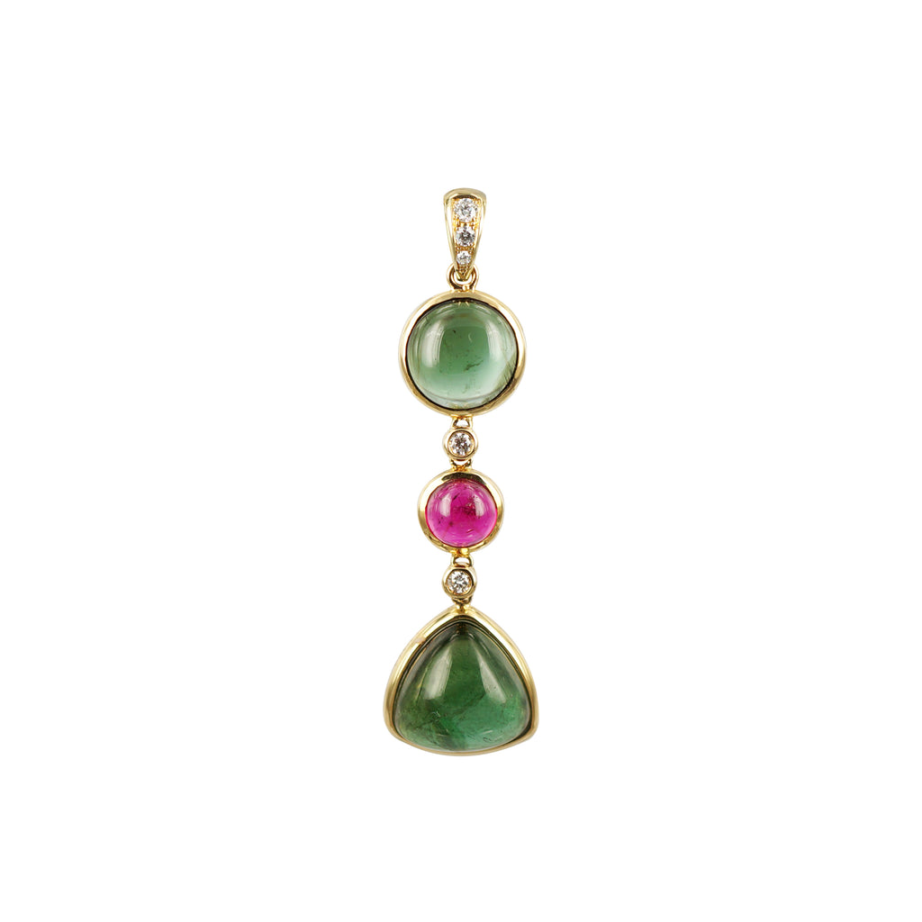 Cabochon Green and Pink Tourmaline Diamond Pendant