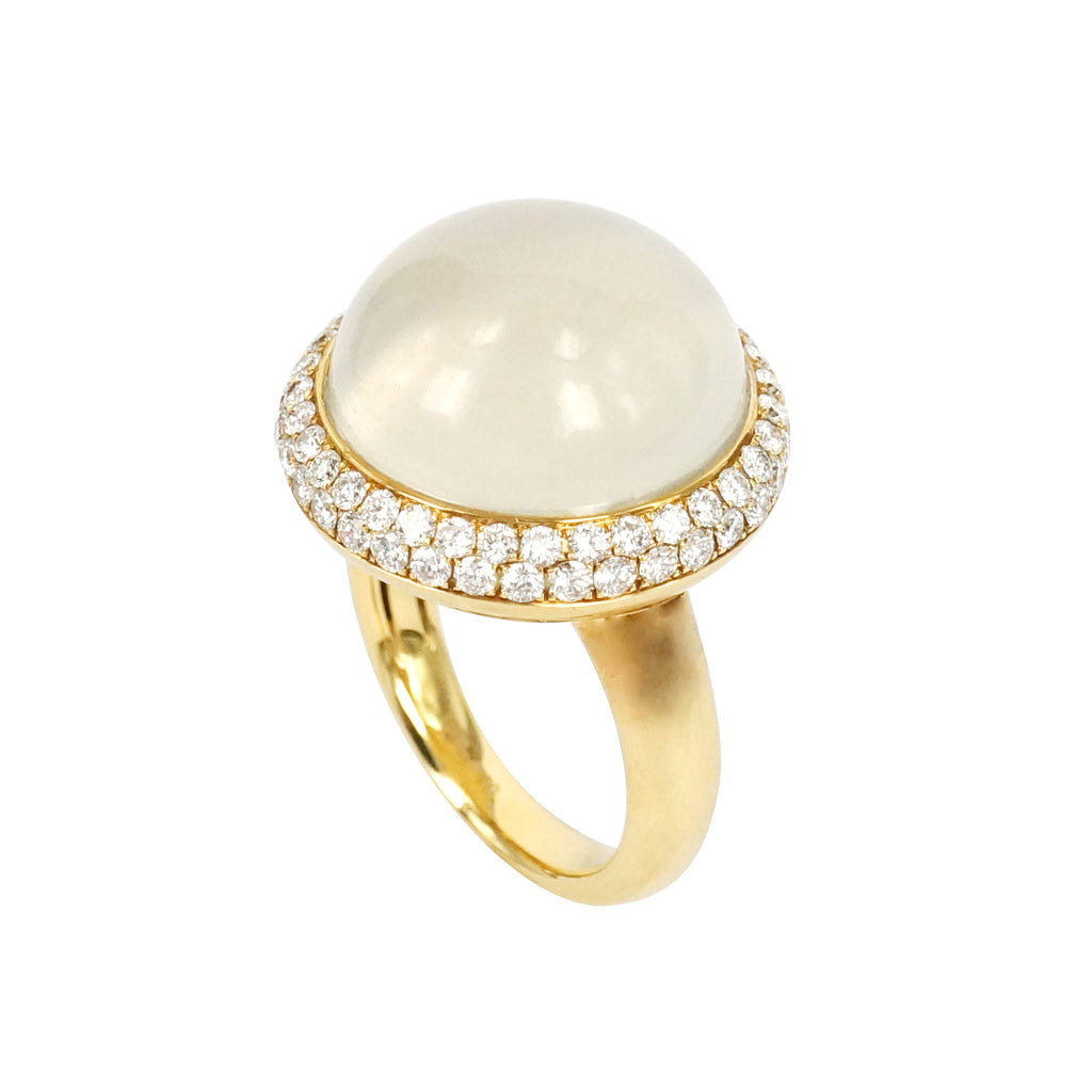 Cabochon Moonstone Diamond Ring