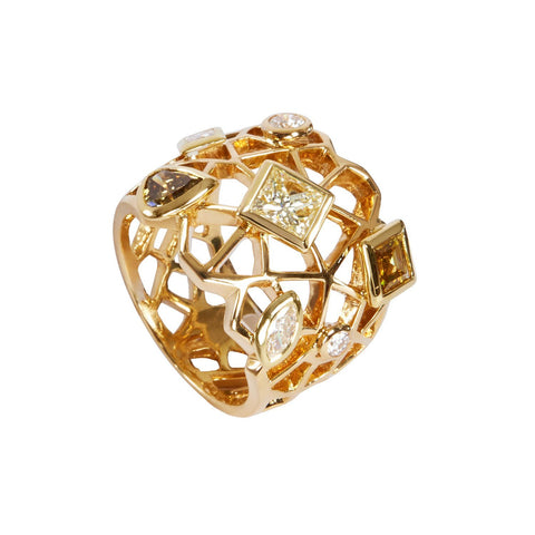 Champagne and Cognac diamond Cobweb ring