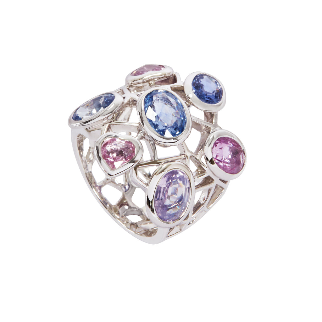 Fancy sapphire Cobweb ring in white gold