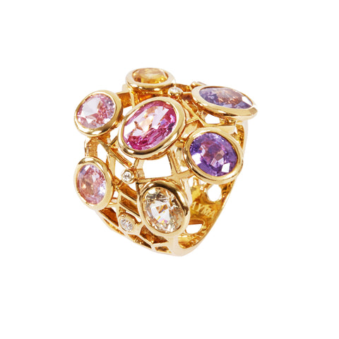 Fancy sapphire Cobweb ring in yellow gold