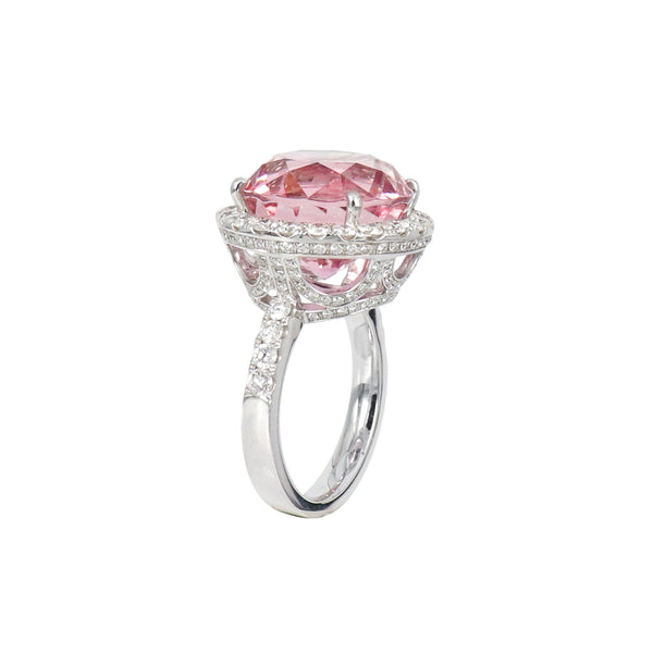 Brilliant cut Pink Tourmaline Diamond Ring