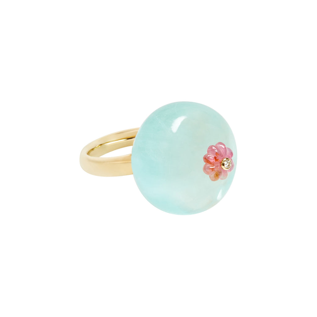 Aquamarine and Pink Tourmaline Dim Sum Bao Ring