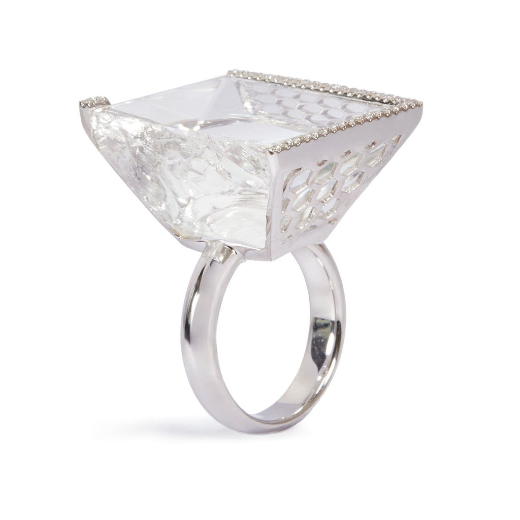Rock Crystal INFINITY ICE diamond ring in 18K white gold