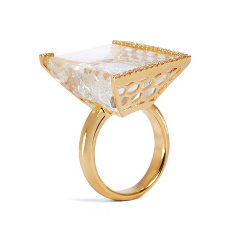 Rock Crystal INFINITY ICE diamond ring in 18K yellow gold