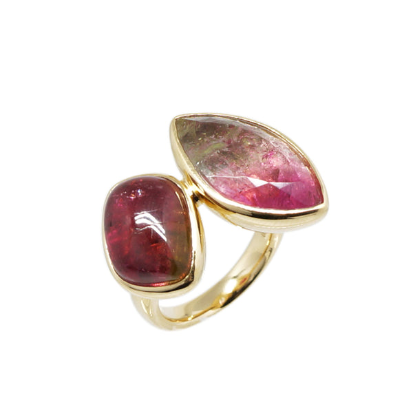 Bi- Colour Tourmaline and Pink Tourmaline Duette Ring