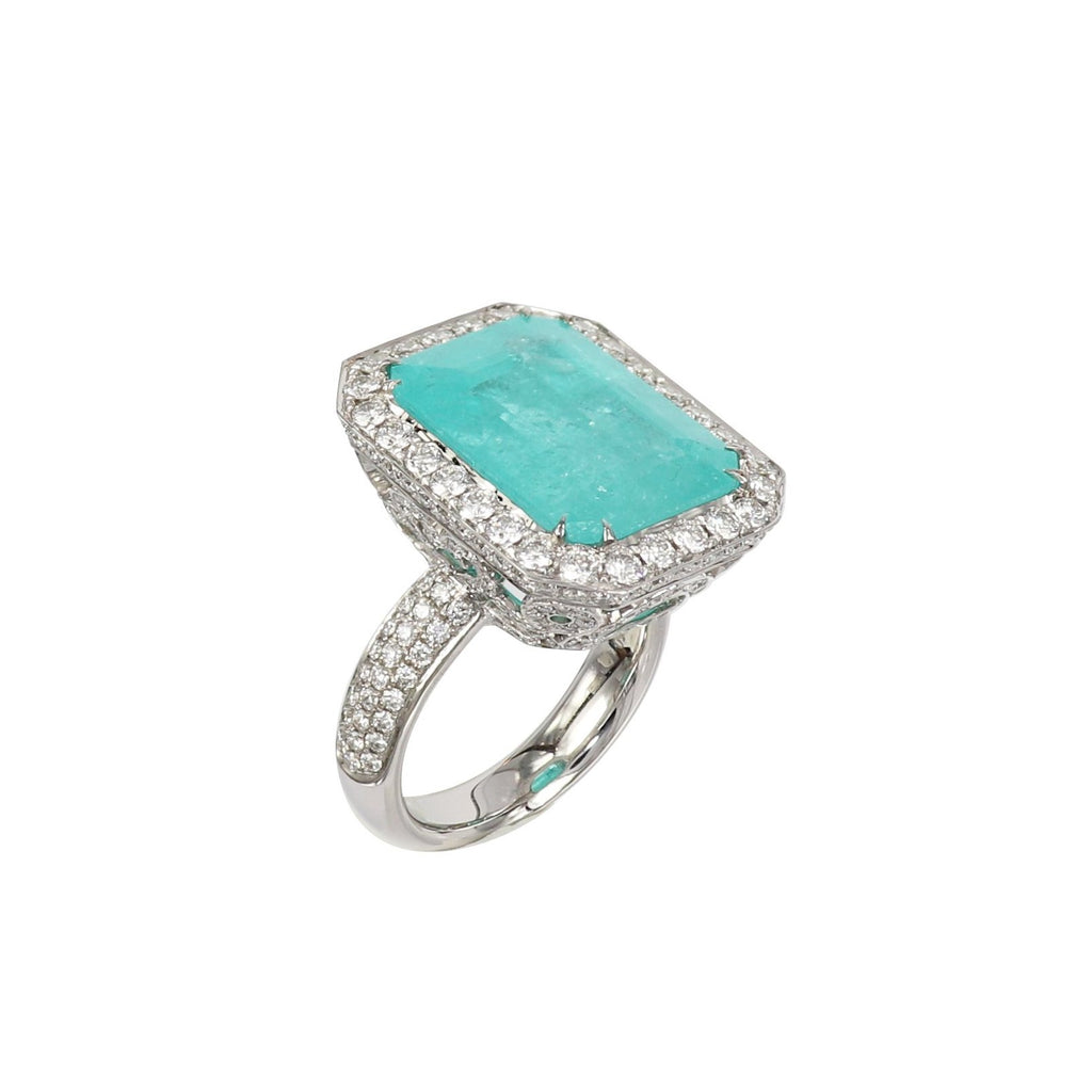 Neon Blue Paraiba Tourmaline and Diamond Ring