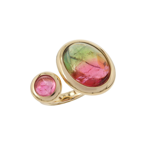 Cabochon Watermelon and Pink Tourmaline Duette Ring
