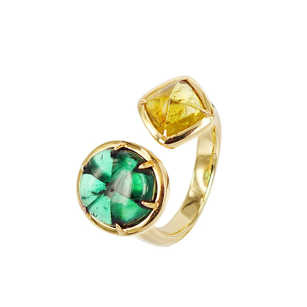 Emerald trapiche and sugarloaf Yellow Tourmaline duette ring