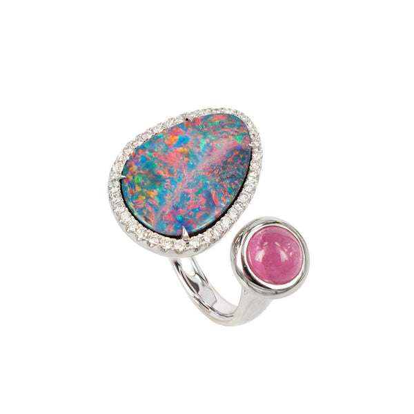Opal and Pink Tourmaline Diamond Duette Ring