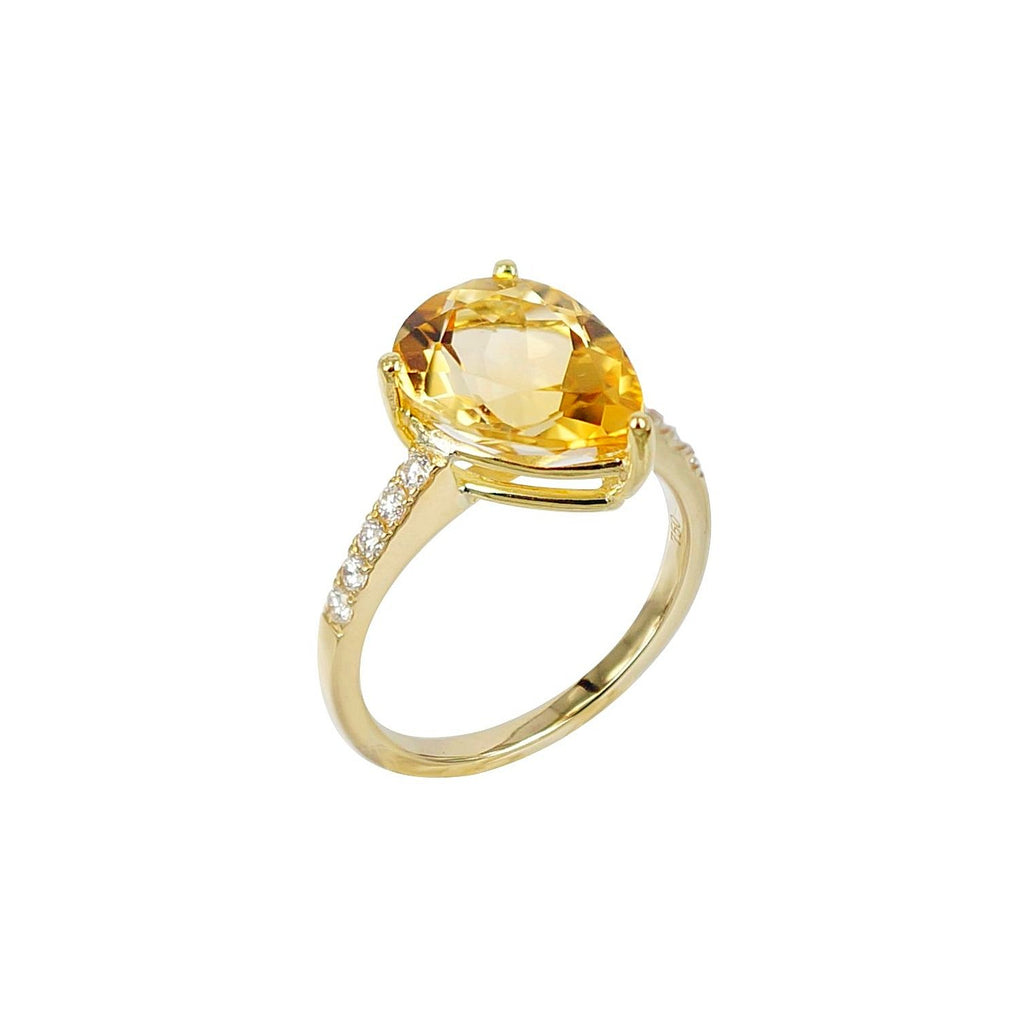 Pear shape Citrine and Diamond Ring