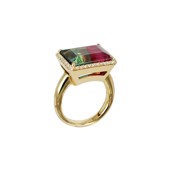 Watermelon Tourmaline Diamond Ring