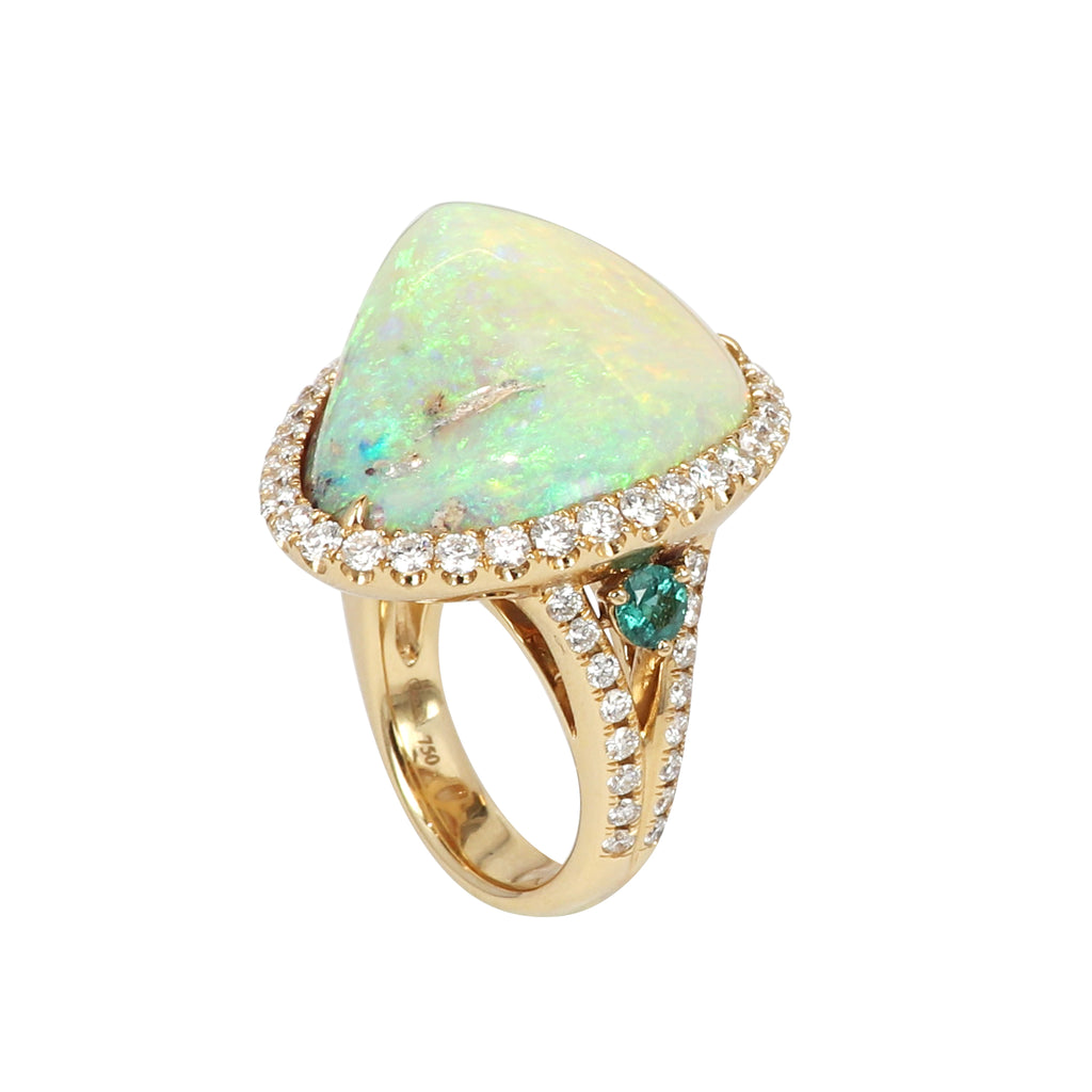 Opalised Fossil Shell diamond and Paraiba ring