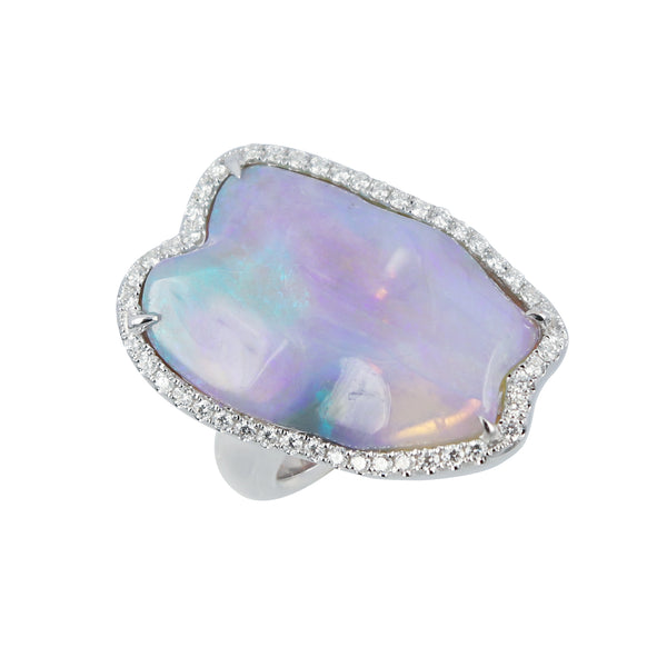 Lightning Ridge Opal and diamond ring