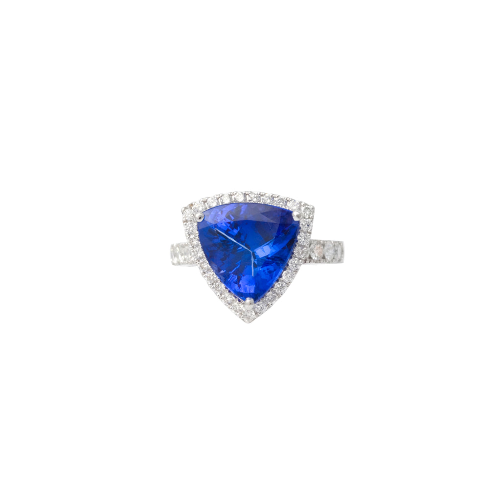 Trillion Cut Tanzanite and Diamond Ring