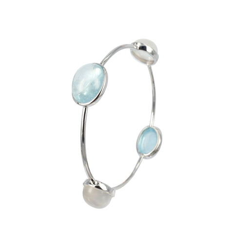 Cabochon Aquamarine and Moonstone Bangle