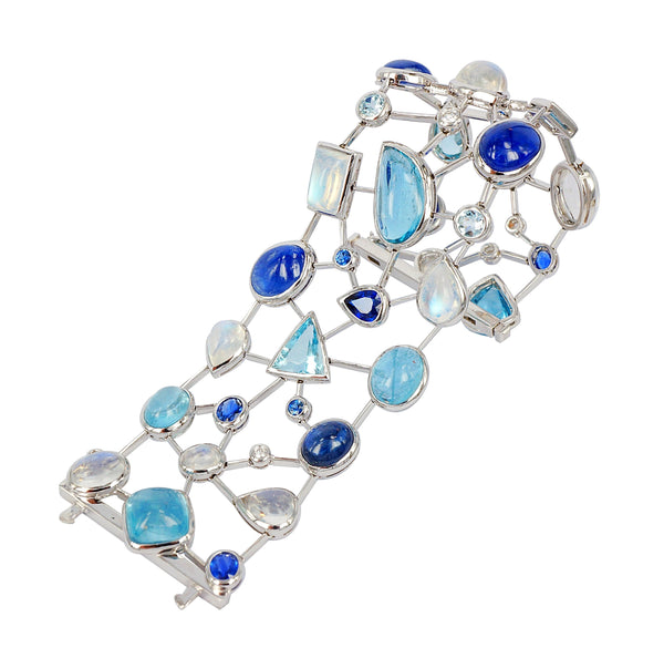 Aquamarine, Moonstone and Sapphire diamond Cobweb Cuff