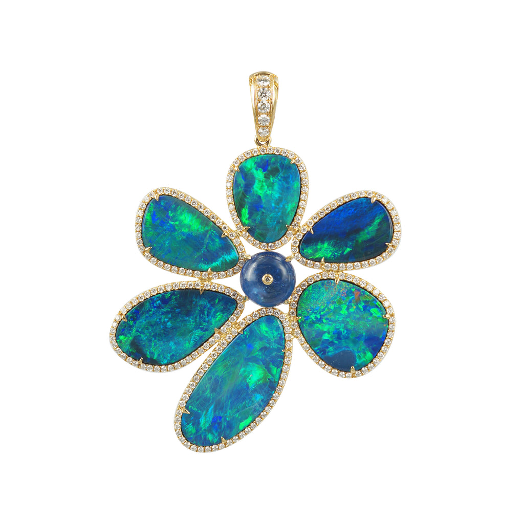 Floating Islands Collection - Opal Tanzanite and Diamond Pendant